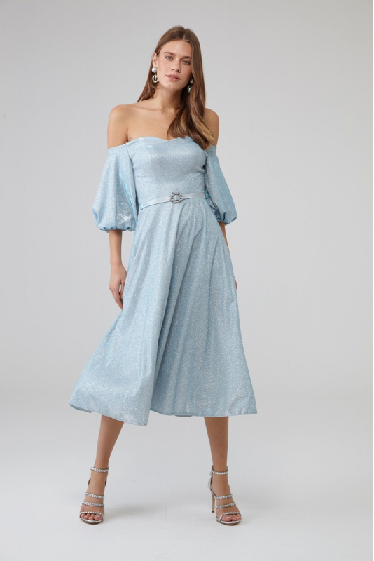 Blue velvet 13 short sleeve midi dress