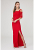 Red crepe short sleeve maxi dress