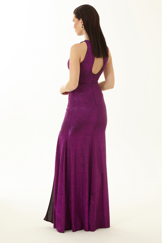 Purple velvet 13 sleeveless maxi dress