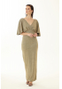 Gold velvet 13 short sleeve maxi dress