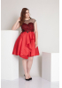 Red plus size satin sleeveless mini dress