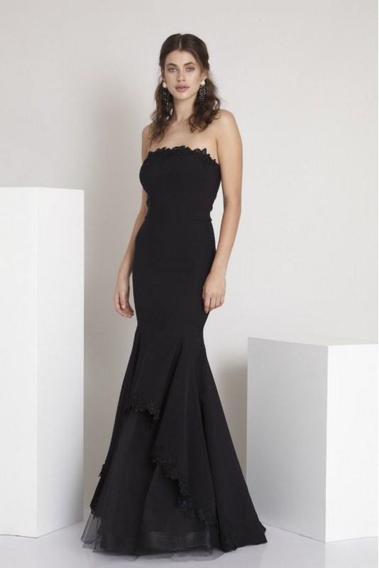 Black crepe strapless maxi dress