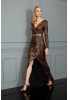 Copper sequined sleeveless maxi dress