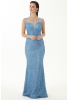 Blue sequined sleeveless maxi dress