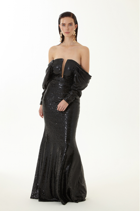 Black sequined strapless maxi dress
