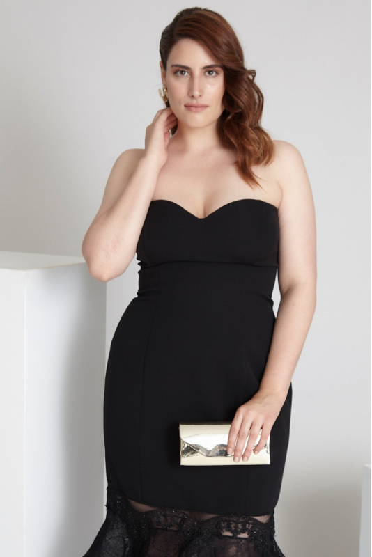 Black plus size crepe strapless midi dress