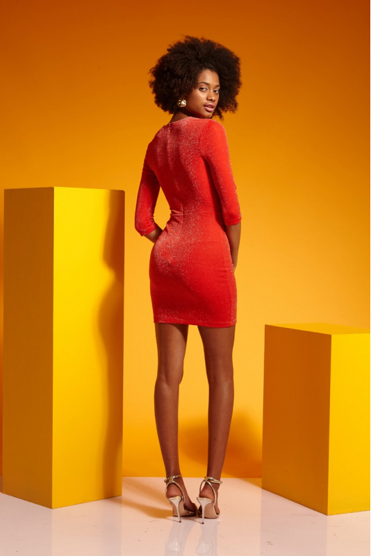 Coral knitted 3/4 sleeve mini dress