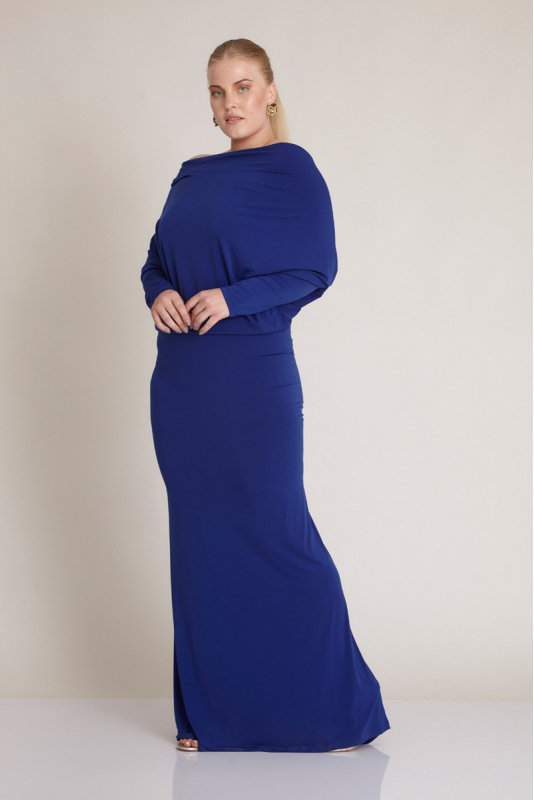 Wholesale Sax plus size knitted long sleeve maxi dress - Fervente