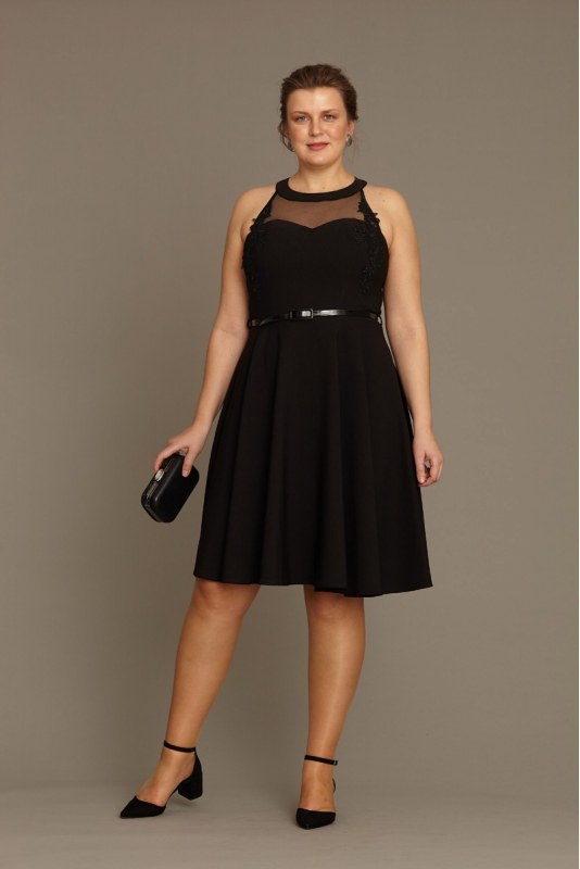 Wholesale Black plus size crepe sleeveless mini dress - Fervente