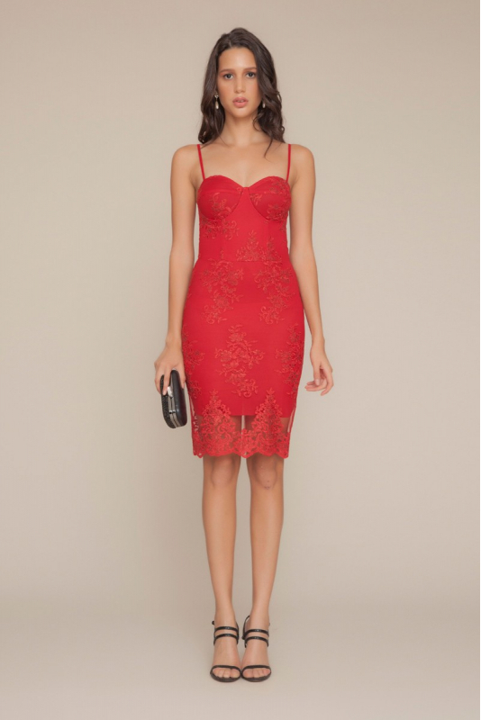 Red lace midi sleeveless dress
