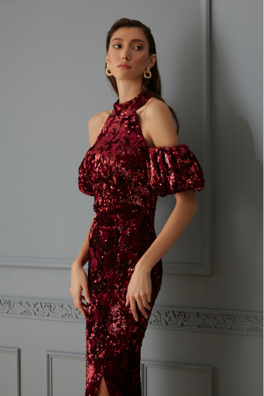 Claret red sequined sleeveless maxi dress