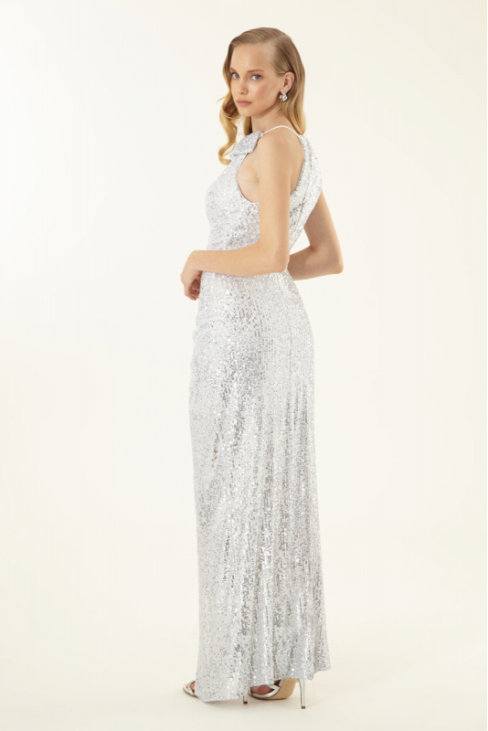 White sequined sleeveless maxi dress