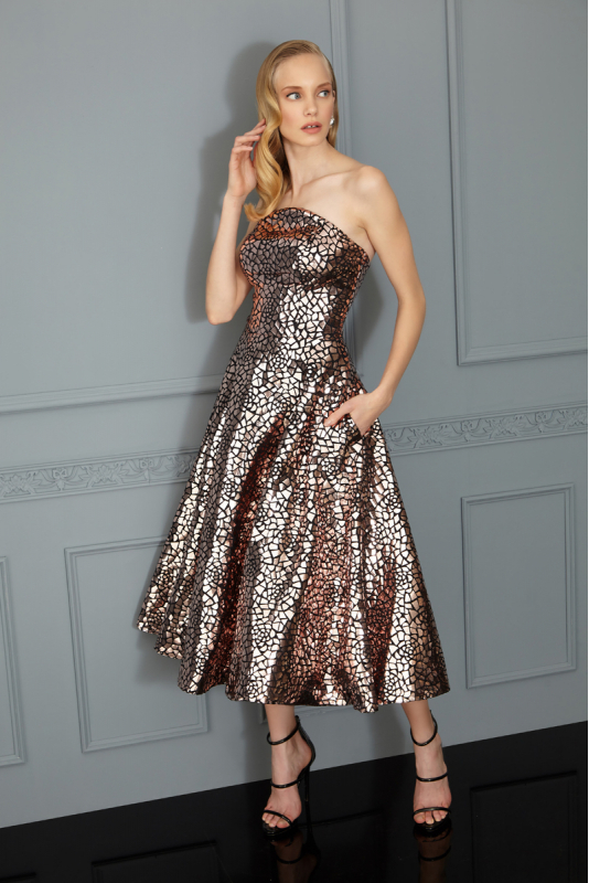 Copper sequined strapless midi dress