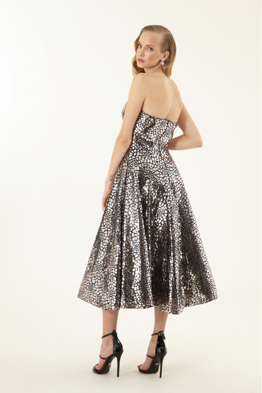 Silver sequined strapless midi dress