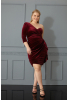 Claret red plus size velvet sleeveless maxi dress