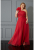 Red plus size woven sleeveless maxi dress