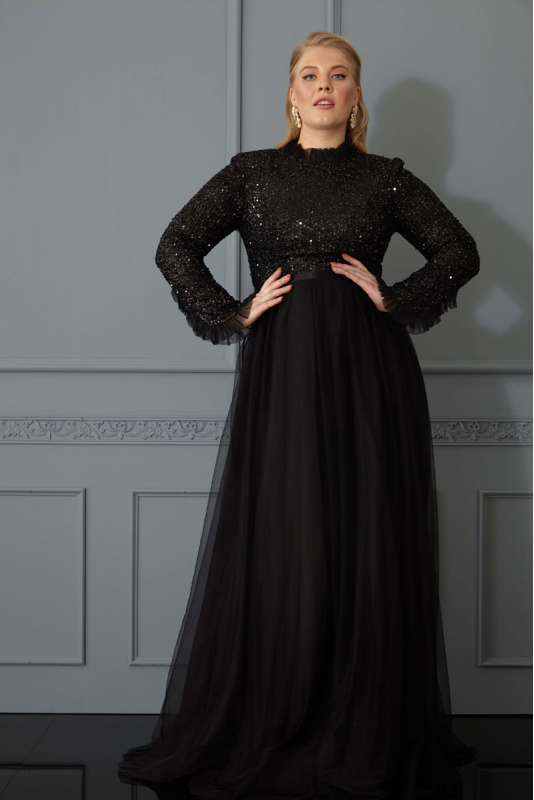 Black plus size sequined long sleeve maxi dress