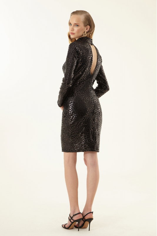 Black sequined long sleeve mini dress
