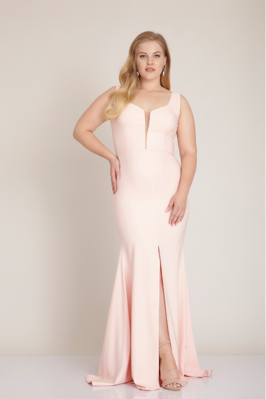 Powder plus size crepe sleeveless maxi dress