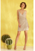 Beige knitted sleeveless mini dress