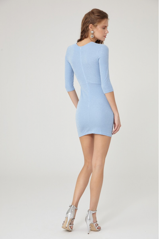 Blue knitted 3/4 sleeve mini dress