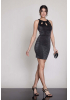 Black knitted sleeveless mini dress