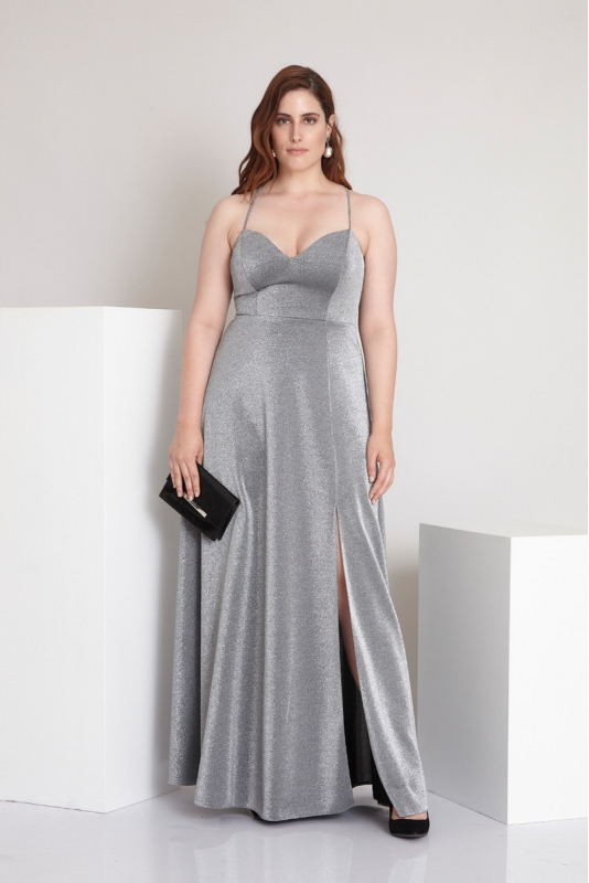 Wholesale Silver plus size knitted sleeveless maxi dress - Fervente