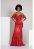 Red sequined short sleeve maxi dress