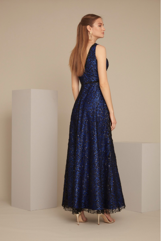 Sax sequined maxi sleeveless dress