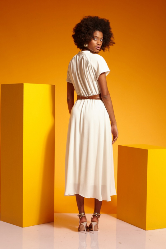 White crepe short sleeve midi dress