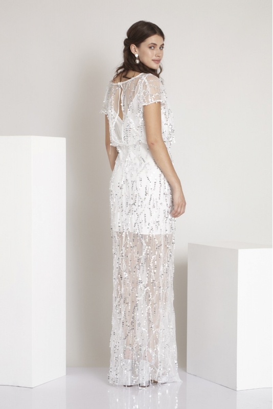 White sequined short sleeve maxi dress