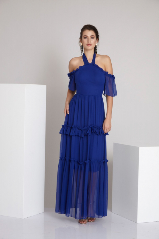 Sax chiffon 3/4 sleeve maxi dress