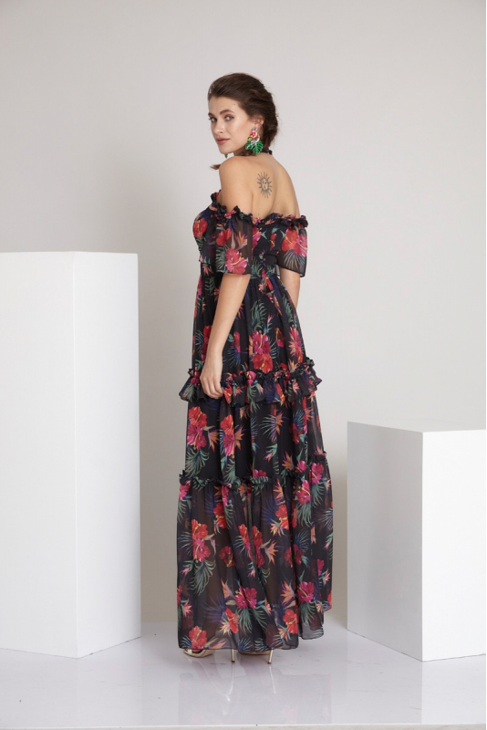 Pattern z53 chiffon 3/4 sleeve maxi dress