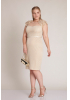 Beige plus size knitted sleeveless mini dress