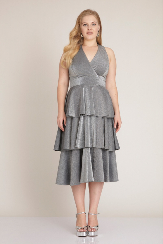 Silver plus size knitted sleeveless midi dress