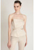 Beige knitted maxi strapless overall