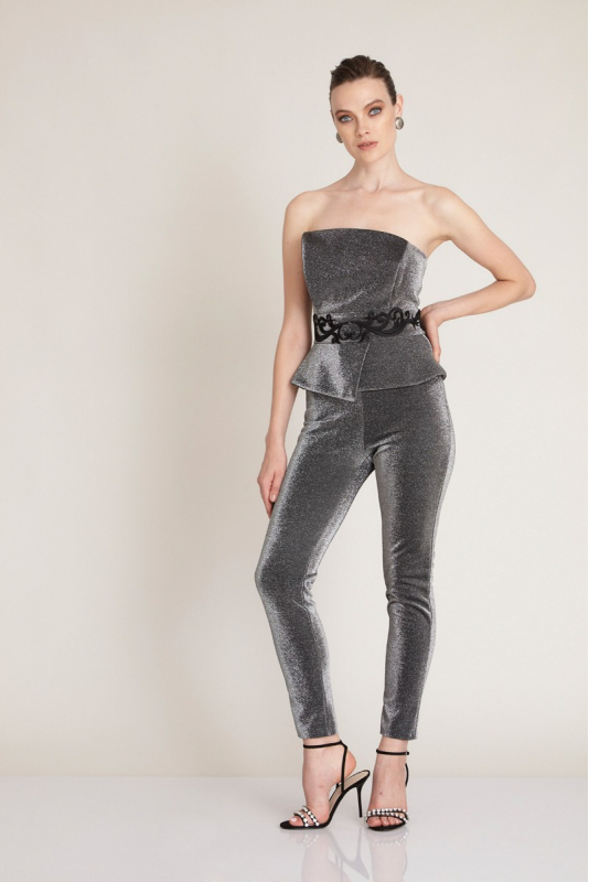 Silver knitted maxi strapless overall