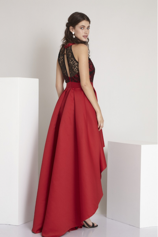 Red satin sleeveless maxi dress