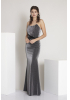 Black knitted strapless maxi dress