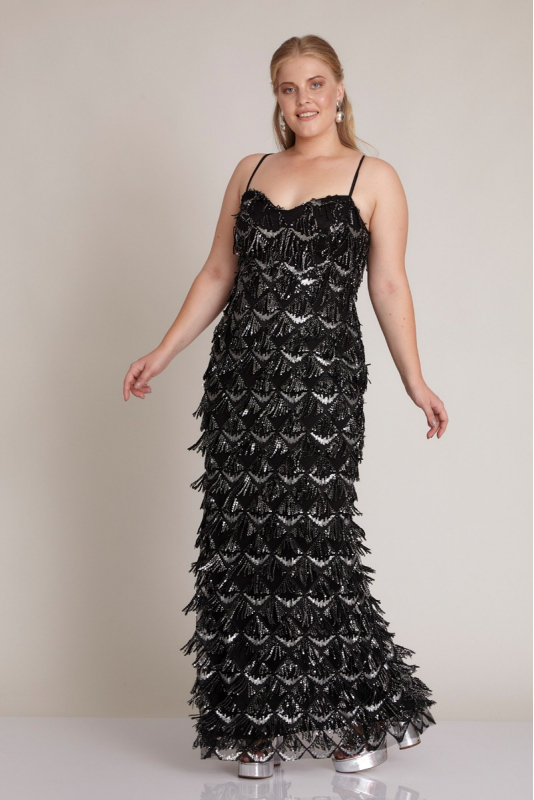 Black plus size sequined sleeveless maxi dress