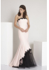 Powder crepe strapless maxi dress