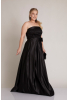 Black plus size satin strapless maxi dress