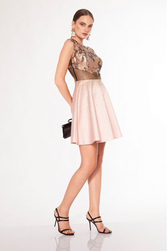 Powder satin mini sleeveless dress