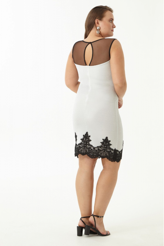 White plus size knitted sleeveless mini dress