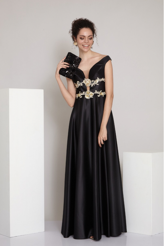 Black satin short sleeve maxi dress
