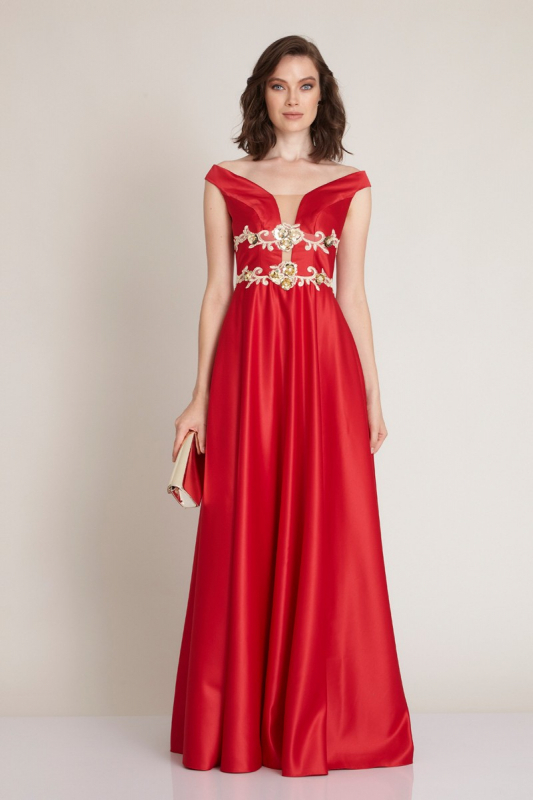 Red satin short sleeve maxi dress