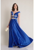 Sax satin short sleeve maxi dress