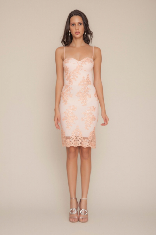 Powder lace midi sleeveless dress