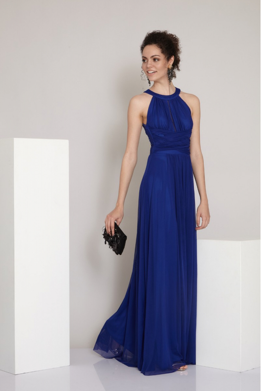 Saxon blue tulle maxi sleeveless dress