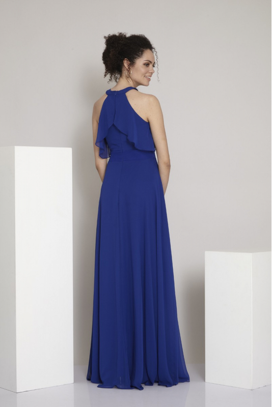 Sax chiffon sleeveless maxi dress